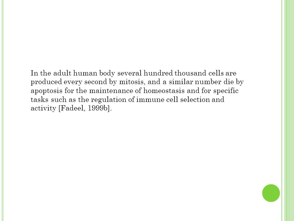 In the adult human body several hundred thousand cells are produced every second by mitosis, and a similar number die by apoptosis for the maintenance of homeostasis and for specific tasks such as the regulation of immune cell selection and activity [Fadeel, 1999b].